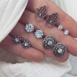 Silver Boho Hamza Hand Earrings Set